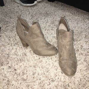 Brown/tan heeled booties from DSW